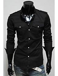 Shangdu Mode Schulterpolster Design Long Sleeve Shirt (schwarz)
