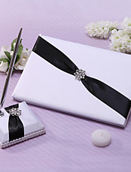 Chic Wedding Guest Book And Pen Set In Black Satin With Ivory Sash And Rhinestones Sign In Book