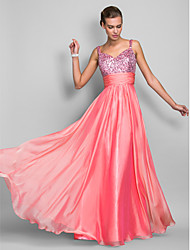 Formal Evening/Prom/Military Ball Dress - Watermelon Sheath/Column Spaghetti Straps Floor-length Chiffon/Sequined
