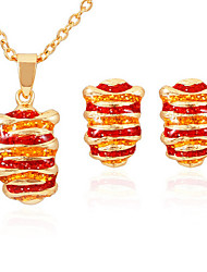 U7® Cute Items 18K Gold Plated Colorful Enamel Pendant Necklace Earrings Jewelry Sets Cute Jewellery
