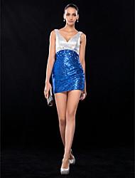 Cocktail Party / Wedding Party Dress - Multi-color Plus Sizes / Petite Sheath/Column V-neck Short/Mini Sequined