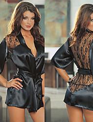 Black Lace Satin Robe Women's Night Sleepwear