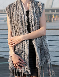 Fur Vest With Nice Sleeveless Collarless Rabbit Fur Party/Casual Vest(More Colors)