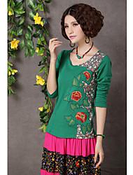 etnico del ricamo di stile cinese di stampa floreale parti superiori della maglietta delle donne