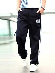 PPZ Männer Stickerei Sport Hose mit Gürtel (Marine-Blau)