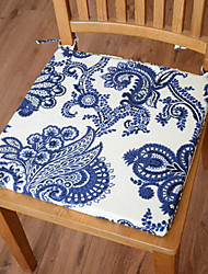Modern Style 100% Cotton Blue Floral Pattern Chair Pad