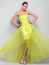 Prom / Formal Evening / Military Ball Dress - 1920s A-line / Princess Strapless Floor-length Satin / Tulle withAppliques / Draping /