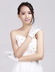 Wrist Length Fingertips Glove Satin/Lace Bridal Gloves