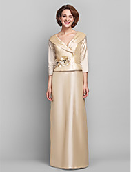 Sheath/Column Plus Sizes / Petite Mother of the Bride Dress - Champagne Floor-length 3/4 Length Sleeve Taffeta
