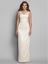 Formal Evening/Military Ball Dress - Ivory Plus Sizes Sheath/Column V-neck Floor-length Lace