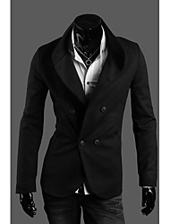 Men's Solid Casual Blazer,Cotton Blend Long Sleeve-Black / Gray