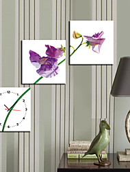 "12 Country Style Purple Flower Wall Clock ""-24"" En toile 3pcs"