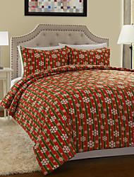 3-teilig Streifen floral mehrfarbigen Weihnachten Decke gesetzt