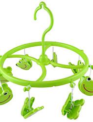 Verde de plástico 8 Sonrisa Clips Frog Round Shell Bufanda Guantes toalla colgada clavija de ropa