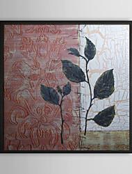Épais Feuille florale encadrée peinture à l'huile