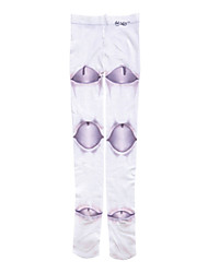 Socks/Stockings Gothic Lolita Lolita Lolita Light Purple / White Lolita Accessories Stockings Print For Women Velvet