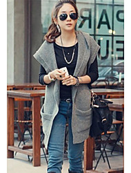 Women's Hooded Loose Vest Long Woolen Coat