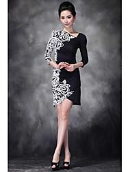 YBKCP Frauen Weiße Rose Print 1/2 Länge Ärmel Kleid