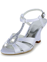 Satin Wedding Wedge Heel Sling Back Sandles With Rhinestone