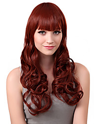 Capless Long Red Curly High Quality Synthetic Wings Full Bang