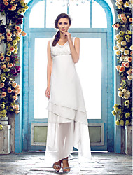 Lanting Sheath/Column Plus Sizes Wedding Dress - Ivory Asymmetrical V-neck Chiffon