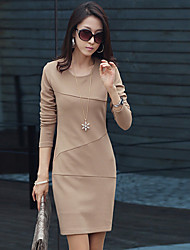 Colore Partito lungo elegante Slim Sleeve Dress Bottoming
