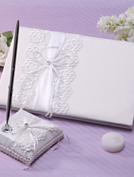Elegant Wedding Guest Book And Pen Set With Lace Sign In Book