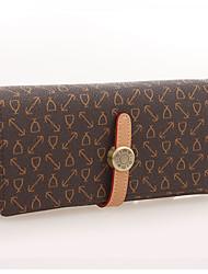 OIMEI Women's Coffee Pvc Leather High Quality Elegant Wallet(L19cm*W2.5cm*H9cm)