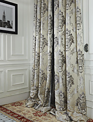 Two Panels  Michelle Luxury® Rococo Ivory Jacquard Energy Saving Curtain Drape