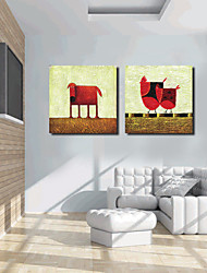 Stretched Canvas Art Cartoon Chicken and Dog Set of 2