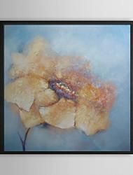 Jaune Pétale florale encadrée peinture à l'huile