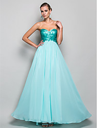 Prom / Formal Evening / Military Ball Dress A-line / Princess Strapless / Sweetheart Floor-length Chiffon / Sequined with Draping