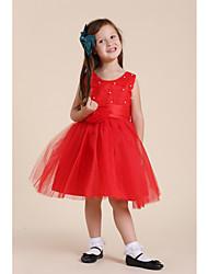 Frisada Vestido de malha da menina