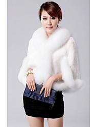 CHAOLIU Women's Fur Collar Cape Faux Fur Coat