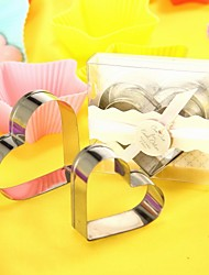 a forma di cuore in metallo cookie cutter bomboniera set (set di 2)