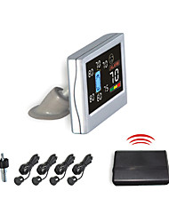 4 Wireless Radar Parking Sensor System-Ecran Lcd Et buzzer (Blanc, Noir, Argent)