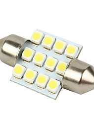 Merdia 12-SMD 1210 12V Festoon Dome Light LED Bulbs - White (pair)-LEDD002B12
