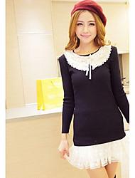 Women's Lace Crochet Collar Splicing Hem Long Sweater