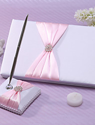 Chic Wedding Guest Book And Pen Set In Pink Satin With Sash And Rhinestones Sign In Book Coral Wedding