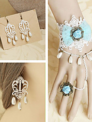 Gorgeous White Lace Blue Rose Bow Sweet Lolita Accessories Set