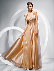Prom/Military Ball/Formal Evening Dress - Gold Sheath/Column Straps Floor-length Chiffon/Stretch Satin/Tulle