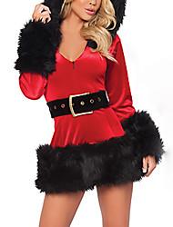 Preto Terylene Christmas Costume EDITH da Mulher