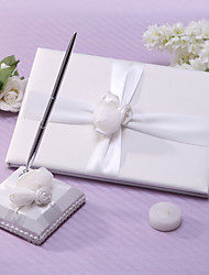 Chic Wedding Guest Book And Pen Set With Sash And Flower Sign In Book