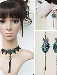 Handmade Retro Tassels Dark Green Blossom Classic Lolita Accessories Set