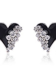 Enamel Heart with Rhinestone Earrings(More Colors)