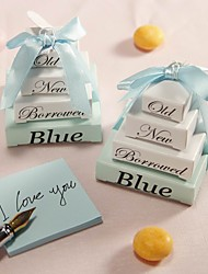"""Something Old, New, Borrowed And Blue"" Note Pad Wedding Favor (Set of 10)"