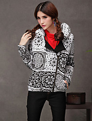 chinese zip impressão estilo outerwear acolchoado étnica das mulheres (impressão aleatória)