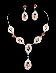 Wedding Rhinestone rosso regolabile Necklace & Earrings Jewelry Set