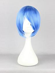 Perruques de Cosplay Cosplay Rei Ayanami Bleu Court Anime Perruques de Cosplay 30 CM Fibre résistante à la chaleur Féminin