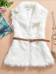 Fur Vest With Sleeveless Turndown In Faux Fur Party/Evening Vest